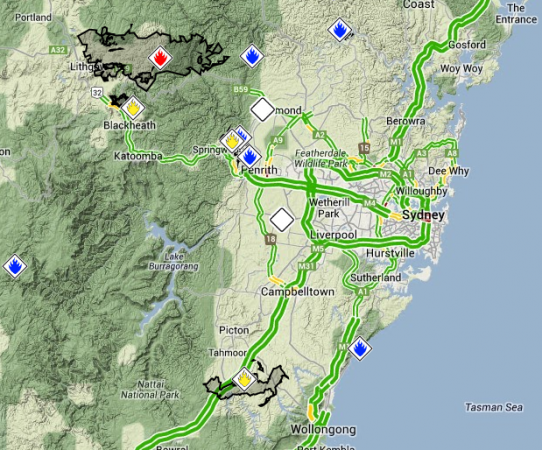 Google Maps NSW Bushfires
